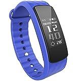iWOWNfit i6 Fitness Smart Armband Aktivitätstracker Tiefschlaf/Leichtschlaf Monitor Fitness Tracker mit Kalorienzähler Vibrationswecker Anruf SMS Whatsapp Wasserdicht IP67 Sport Schrittzähler für iPhone Samsung Huawei ect (Blau-L)