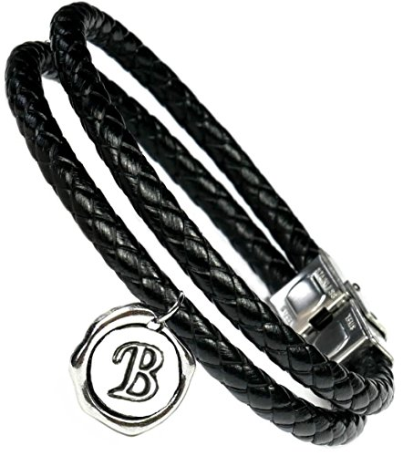 Lufetti® Lederarmband Love mit Buchstaben Namen Initialen, echtes Leder schwarz (B)
