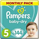 Pampers Baby-Dry Windeln, Gr.5, 11-16kg, Monatsbox, 1er Pack (1 x 144 Stück)