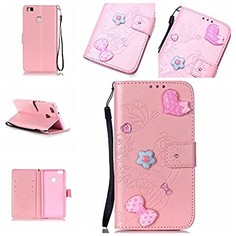 For Huawei P9 Lite Case [Pink],Cozy Hut [Wallet Case] Magnetic Flip Book Style Cover Case ,High Quality Classic New design Crystal Butterfly Flower Pattern Design [With Diamond] Premium PU Leather Folding Wallet Case With [Lanyard Strap] and [Credit Card Slots] Stand Function Folio Protective Holder Perfect Fit For Huawei P9 Lite -