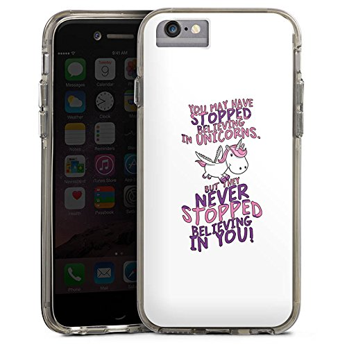 Apple iPhone X Bumper Hülle Bumper Case Glitzer Hülle Einhorn Unicorn Sayings Bumper Case transparent grau