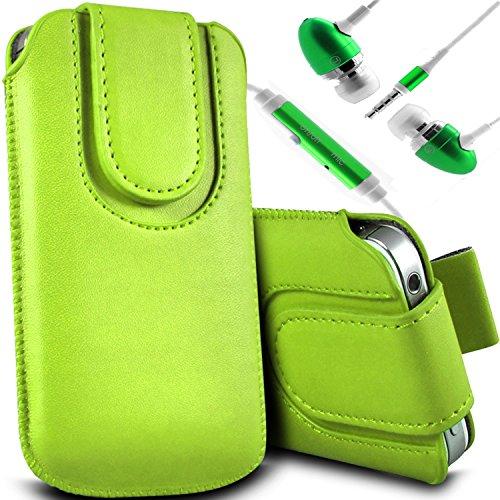Vert/Green - Alcatel Pop 2 (4) Housse et étui de protection en cuir PU de qualité supérieure à cordon avec fermeture par bouton magnétique et écouteurs intra-auriculaires de 3,5 mm assortis par Gadget Vert/Green & Ear Phone