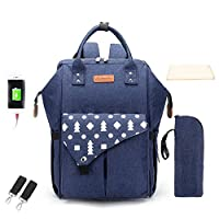 Backpack Mummy Bag Multi-Function Large Capacity Shoulder Mummy Bag USB Maternal and Child Package Fashion Practical Convenience Maternal and Child Package New Pine Blue