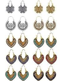 YADOCA 10 pares de pendientes colgantes para mujeres y niñas vintage tribal colgantes pendientes retro de flor hueca boho gota conjunto plata oro