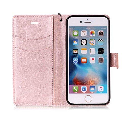 iPhone 6/iPhone 6S 4.7inch Case, Case First due colori design PU pelle portafoglio Case Cover Flip Cover con Cinturino da Polso e Card Slot per iPhone 6/iPhone 6S 4.7inch Rosa + Schwarzes
