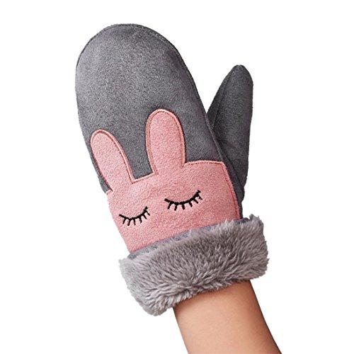 Handschuh Baby Winter Btruely Junge Niedlich Mädchen Behalten Warm Handschuh Mode Niedlich Verdicken Fingerhandschuhe (Grau)