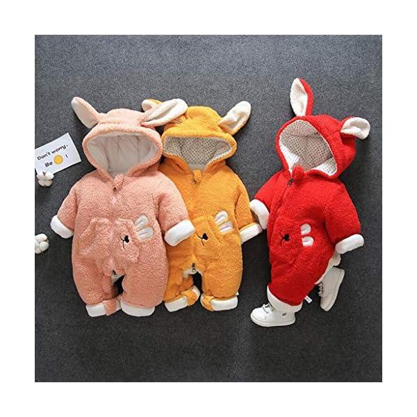 Felpa Conejo Encapuchado Mono recién Nacido Invierno Moda Niñito Bebé Niños niñas Calentar Mameluco Mono Encantador… 2