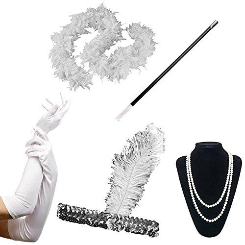 ShiyiUP 1920er Jahre Flapper Zubehör Stirnband Halskette Handschuhe Zigarettenspitze Halloween Kostüm Accessoires für Damen 5 Stück,Weiß