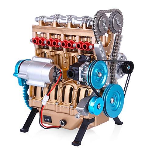 TETAKE Motor Bausatz, 4 Zylinder Metall Auto Motor Modell, 325-teile Selber Bauen Motorbaukasten Spielzeug für Technikinteressierte