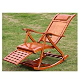 HUIFANG Bambus Schaukelstuhl Recliner Erwachsener Schaukelstuhl Balkon Sessel Faltbare Mittagspause Siesta Bambus Stuhl Lässig Alten Stuhl Massivholz A