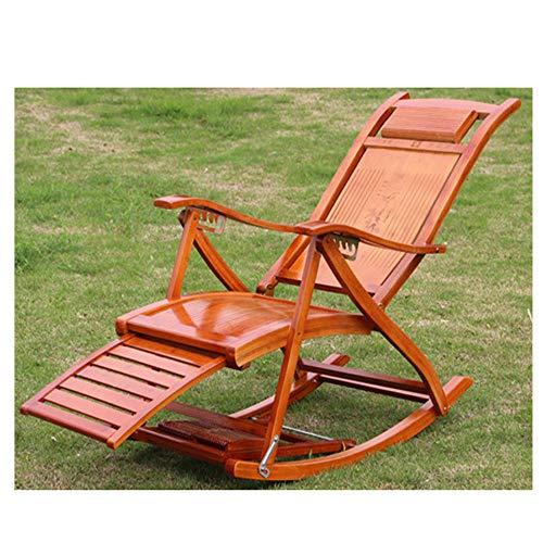 HONGNA Bambus-Lounge-Sessel, kühles Holz, Sessel, Bambus-Schaukelstuhl, Balkongarten, Alter Mann,...