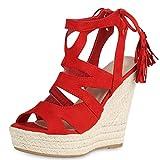 SCARPE VITA Damen Sandaletten Bast Keilabsatz Espadrilles Wedges Schuhe 161258 Rot Quasten 39
