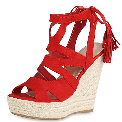 SCARPE VITA Damen Sandaletten Bast Keilabsatz Espadrilles Wedges Schuhe 161258 Rot Quasten 41 (Wedges Schuhe)