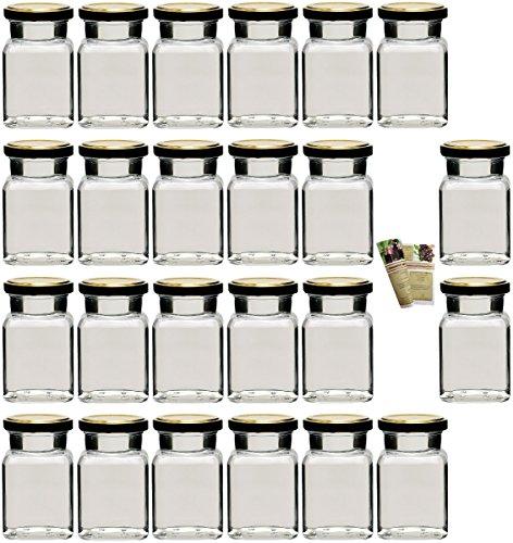 """gouveo 48er Set Einmachgläser \""""Quadrat\"""" 150 ml incl. Drehverschluss Gold BLUESEAL und 28-seitige Flaschendiscount-Rezeptbroschüre, Vorratsgläser, Marmeladengläser, Einkochgläser, Gewürzgläser, Einweckgläser von Flaschendiscount"""