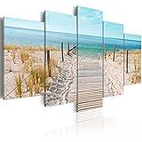 decomonkey | Bilder Strand 200x100 cm XXL | 5 Teilig | Leinwandbilder | Vlies Leinwand | Wandbilder | Wand | Bild auf Leinwand | Wandbild | Kunstdruck | Wanddeko | Landschaft Meer Natur | DKB0122a5XL