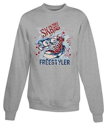 Billion Group   Urban Sk8 Freestyler   Extreme Sport   Women's Unisex Sweatshirt Gris