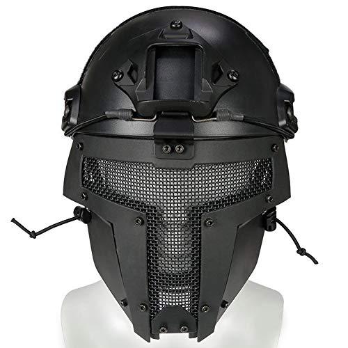WLXW El Casco de Combate Rápido Táctico Y El Conjunto de Máscaras de Malla de Acero de Diseño Espartano, Adecuado para la Pistola de Aire de Paintball, Caza, Juego de Protección CS,SetBK