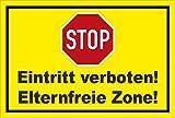 Schild - Stop - Halt - Eintritt verboten - Eltern-freie Zone – 30x20cm | stabile 3mm starke PVC Hartschaumplatte – S00357-011-C +++ in 20 Varianten erhältlich