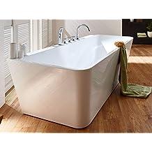 Freistehende Badewanne mit Armatur weiß Modern Acrylbadewanne 170x80cm Sylt (mit Geruchsverschluss (Flachsiphon))
