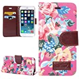 Flip Case Handy-Hülle Business Case zu Apple iPhone 6 Blumen Frühling Sommer deep pink