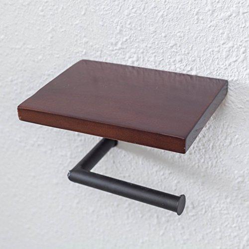 Sin perforación sostenedor de papel higiénico, Almacenamiento baño Portarrollos de papel higiénico storer, Succión de pared Madera Dispensador-C