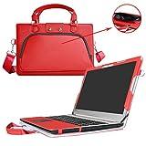 Ideapad 510 15 Housse,(2 en 1) spécialement conçu Étui de protection en cuir PU + sac portable Sacoche pour 15.6' Lenovo Ideapad 510 15 510-15IKB ordinateur(NON compatible Ideapad 510s/Ideapad 520),Rouge