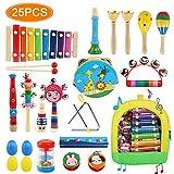 LinStyle Juguetes Musicales Instrumentos, 25pcs Instrumentos Musicales Juguete Instrumento de Percusion Xilófono Madera Set Educativo Bebés Regalos con Bolsa de Transporte para los Niños