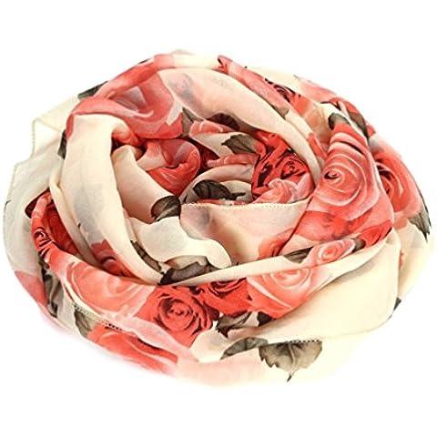 Bufandas para Mujer,Xinan Collar Rosa Largo Gasa Robó las Bufanda Mantón (Beige)