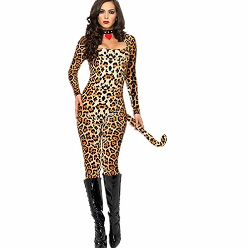 Canarea Negligee Erotik Damen Sexy Push up Latex Reizwäsche Frauen Club Kleid V-Ausschnitt Leopard Mädchen Katze Kleid Halloween Sexy Kostüm ()