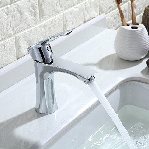 Homelody - Waschtisch-Einhebelmischer, ohne Ablaufgarnitur, Luftsprudler, Keramikkartusche, Chrom