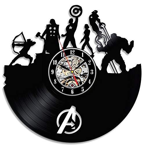 GLJF Horloge Murale Disque Vinyle Horloges À Piles Décoré Salon Cadeau Avengers Super Héros