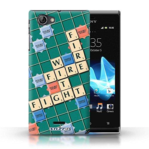Kobalt® Imprimé Etui / Coque pour Sony Xperia J (ST26i) / Pratique Parfaite conception / Série Mots de Scrabble Lutte Incendie