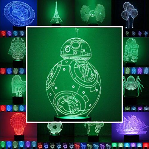 3D Lampe 3D Leuchte 3D LED Stimmungslicht. 7 verschiedene Farben wählbar - Auswahl aus 81 verschiedenen Motiven, hier Roboterkugel BB-8 ca.24x12cm inkl.Sockel - 3D Illusion Dekolicht mit USB Anschluß und 220V USB Netzteil