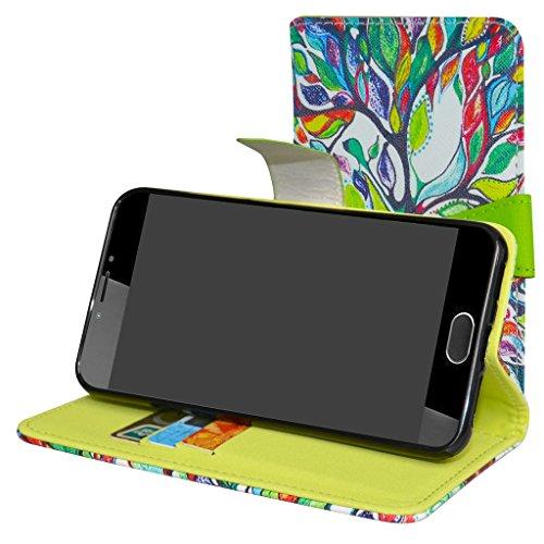 Mama Mouth Liquid Z6 Plus Hülle, Brieftasche Schutzhülle Case Hülle mit Kartenfächer und Standfunktion für Acer Liquid Z6 Plus Android 6.0 Smartphone,Love Tree
