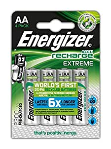 Energizer Recharge Extreme Rechargeable AA Batteries, 4 Pack