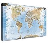 LanaKK – Luxus Ausführung – Leinwandbild 'Weltkarte Ice' Weltkarte - deutsch - Kunstdruck-Pinnwand auf 4cm Echtholz-Keilrahmen – Globus in blau, einteilig & fertig gerahmt in 200 x 150 cm