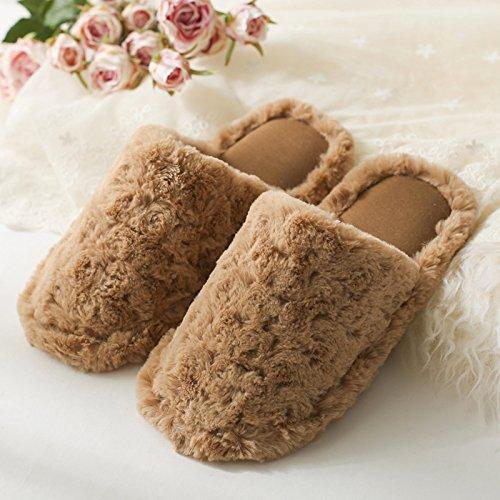 DogHaccd pantofole,Autunno Inverno plus in velluto di cotone felpato pantofole donna coppia grazioso pavimento spesse anti-slip caldo home home il cotone e l'uomo Brown1