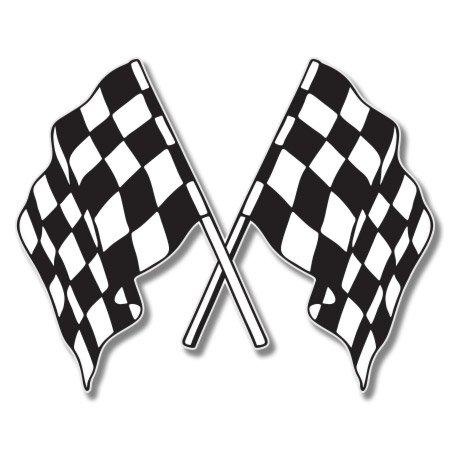 Checkered Flag Stick (Checkered Flags Racing Vinyl Sticker - Car Window Bumper Laptop - 6-Inch)