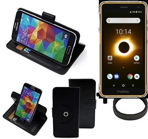 K-S-Trade® Case Schutz Hülle Für -Ruggear RG650- + Bumper Handyhülle Flipcase Smartphone Cover Handy Schutz Tasche Walletcase Schwarz (1x)