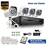 [Full HD 1920x1080P] Zmodo® 4CH 1080P sPoE NVR HD Security Camera System 1000GB with 4 Indoor/ Outdoor Waterproof Night Vision Security Cameras & Hard Drive And MORE (sPoE Technology More Than 35-Day Continuous Recording or Smart Recording, e-Cloud, HDMI Output Two Mega-pixels, Smartphone Scan QR Code Quick Remote Access, MeShare Multiple Mobile Viewing, Motion Detection, Push Notification) + 18-Month Warranty by ZMODO