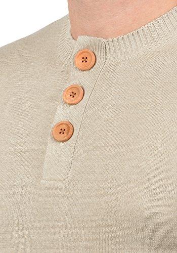 BLEND Leonardo Herren Strickpullover Feinstrick Pulli mit Grandad-Kragen aus hochwertiger Baumwollmischung Sand Mix (70810)