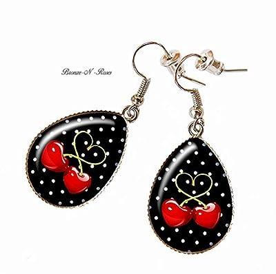 Boucles d'oreilles gouttes cerises cabochon métal argenté pois rouge noir