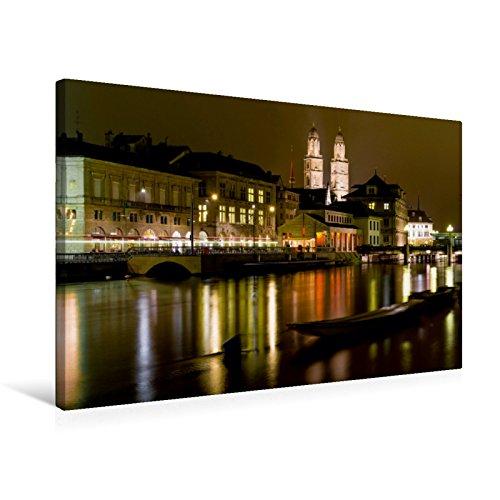 Premium Textil-Leinwand 75 x 50 cm Quer-Format Zürich in der Nacht | Wandbild, HD-Bild auf Keilrahmen, Fertigbild auf hochwertigem Vlies, Leinwanddruck von Enrico Caccia