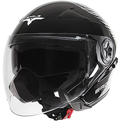 Jago - Casco de moto jet con visera de sol y bolsa de transporte (talla a elegir)