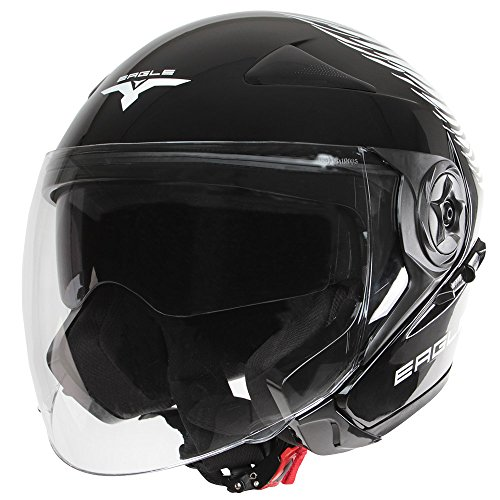 Jago Motorradhelm Motorrad Kopfschutz Jethelm in schwarz (Größe wählbar) inklusive Sonnenblende und Transportbeutel ECE-zugelassen