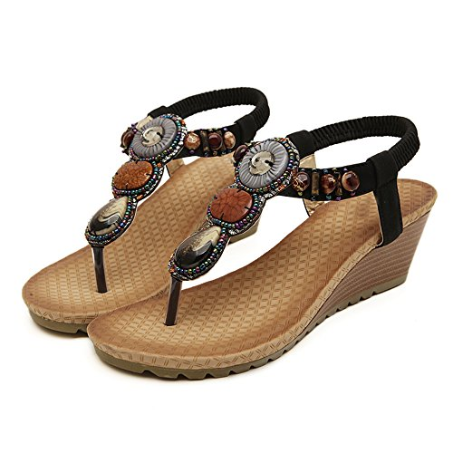 colorfulworld aux Femmes Tongs Chaussures en Sandale des Strass en Perles Style Bohemia Noir