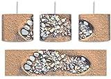 Fußabdruck im Sand Bunstift Effekt inkl. Lampenfassung E27, Lampe mit Motivdruck, tolle Deckenlampe, Hängelampe, Pendelleuchte - Durchmesser 30cm - Dekoration mit Licht ideal für Wohnzimmer, Kinderzimmer, Schlafzimmer