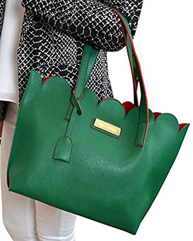 Green Contrast Scallop Edged Tote Handbag with Zip Pouch