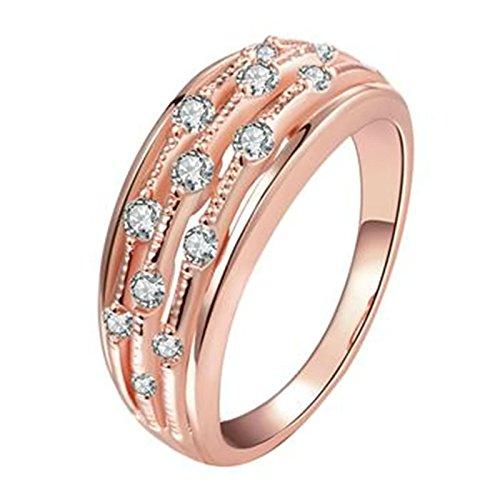 Anyeda Edelstahl Rose Gold Ring Für Damen Silberring 925 Breit Hohle Linien Runde Kristall Damen Engagement Ringgröße 57 (18.1)