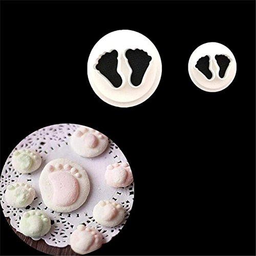 zhouba 2/Set niedliche Baby Little Feet Fondant Form Baby Dusche Keks Kuchen backen Werkzeug, plastik, weiß, Einheitsgröße